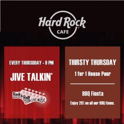 [Hard Rock Café] Come watch Jive Talkin' perform from 9pm onwards and enjoy our One for One promotions on our housepouring drinks and