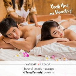 [Lazada Singapore] Vaniday​ Valentine's Day Promotion: Enjoy a 1 hour couple massage at Tang Dynasty for only $48 >> http://www.vaniday.