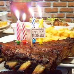 [Morganfield's] 1 free half slab of juicy, tender Sticky Bones every month, for a whole year - all you have to do