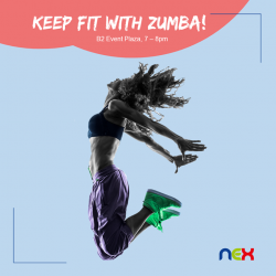 [NEX] Our bi-weekly Zumba sessions are back! In collaboration with Health Promotion Board, come join us for a fun workout