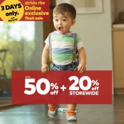 [Stride Rite/Petit Bateau] Stride Rite ONLINE EXCLUSIVE FLASH SALE! Immediate savings of up to 50% OFF + EXTRA 20% OFF STOREWIDE including SALE items &