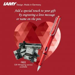 [LAMY Singapore] Free Engraving service is available at all the Lamy stores listed below.LAMY@313somerset #B2-52A LAMY@Raffles City #B1-