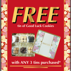 [BAKERZIN] Bakerzin's Chinese New Year Promotion -Free tin of Good Luck Cookies with any purchase of 3 tins of tarts/