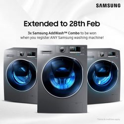 [Samsung Singapore] Just register any Samsung washing machine you own for a chance to win, plus receive a sure-win $10 grocery