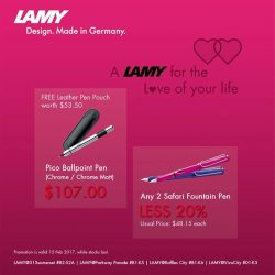 [LAMY Singapore] It's another few more days to Valentine's Day. Get Safari couple pen at 20% off or a pico