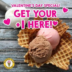 [MARBLE SLAB CREAMERY] Get your +1 here this Valentine's Day! A free scoop with any purchase at all our outlets ALL day!