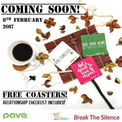 [Earle Swensen's] We are happy to partner with PAVE in support of Dating Violence Awareness Week (8-14 Feb). Free coasters are