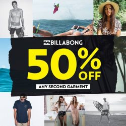[Isetan] Enjoy 50% off any 2nd garments from Billabong. T&Cs apply.Available at Isetan Katong and Tampines from now till
