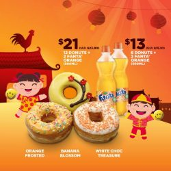 [Dunkin' Donuts Singapore] Usher in sweet tidings with our CNY flavors*: Orange Frosted (Orange frosted with sprinkles), Banana Blossom (Banana frosted with sugar