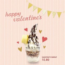 [Milk & Honey] Love is in the air! ❤ Indulge in our Valentine's parfait topped with pecan pop, cream cheese pound cake and