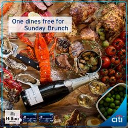 [Citibank ATM] Treat your loved ones to a gratifying Sunday Brunch at Hilton Singapore. From now till 30 Apr 2017, one dines