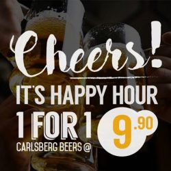 [O' Coffee Club] Saturday Happy Hour Deal? Look no further... 1 For 1 Carlsberg beers @ only $9.90!Available only at O'Coffee