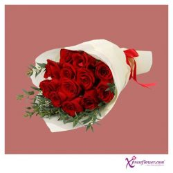 [Xpressflower.com] This classic bouquet is a testament of beauty in simplicity.  Consisting of 12 stalks of brilliant red roses and stalks