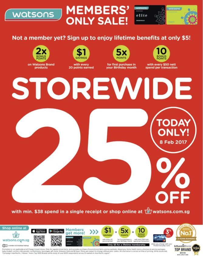 Watsons: Members' Only Sale – Storewide 25% OFF with Min