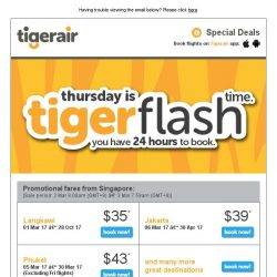 [Tigerair] Tigerflash 24hr sale SNEAK PEEK! Beach out in Bali, Phuket, Boracay & more from $35*!