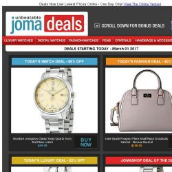 [Jomashop] Brooklyn Watch Co. $50 | Tag Heuer Carrera $1395 | Kate Spade Satchel 40% off | Bulova Watch 82% off | Deals from Ulysse Nardin & Ray Ban Ending Soon