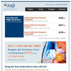 [Zuji] Selling fast! Hong Kong, Bangkok & more fr $50 (return).