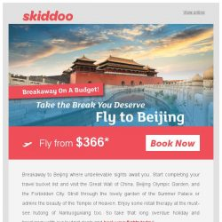 [Skiddoo] ✈ Book the perfect breakaway with our budget flight deals! ✈ | Fly to Beijing fr. $366*| Fly to Penang fr. $94*
