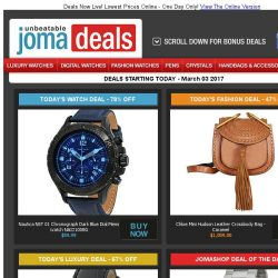 [Jomashop] Nautica Chronograph $60 | Movado Sport $279 | Mido Ladies Watch 67% off | Chloe Bag 47% off | Last Chance Deals from Tag Heuer & Prada