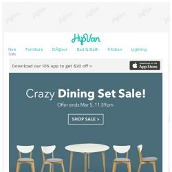 [HipVan] Dining Sets AS LOW AS $279!