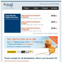 [Zuji] 10 favourite destinations fr $52 (return, incl taxes)!