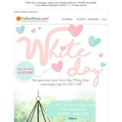 [FarEastFlora] Last 4 days to enjoy up to 15% off White Day Gift Selections for your Valentine 💝