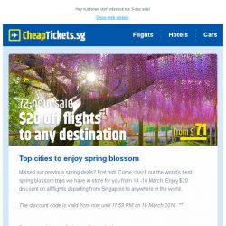 [cheaptickets.sg] 72 hours blossom sale: $20 off all destinations    School's out, holidays' in