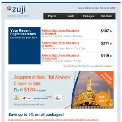 [Zuji] All Singapore Airlines flights on sale fr $184!