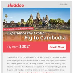 [Skiddoo] 🏛 Be tempted to fly for less  with these Temple Temptation Destinations! 🏛 | Go on a pilgrimage and fly to Cambodia fr. $302 | Fly to Bali $155*
