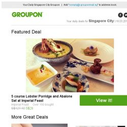 [Groupon] 5 course Lobster Porridge and Abalone Set at Imperial Feast / One Raffles Place: Classic or Gel Mani-Pedi at Amber Beila