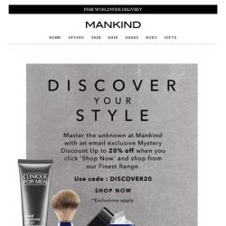 [Mankind] Last chance - Mystery discount up to 20% off