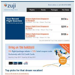 [Zuji] Dreams do come true: 5% off all flights & packages!