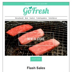 [GoFresh] GoFresh Flash Sale: 15% off on Miyazaki A4 Striploin , Squid Tubes, Duck Breast, Fresh Lacto Boneless Breast and much more