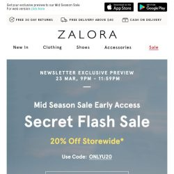 [Zalora] ⚡ 3-Hour Flash sale: Extra 20% off!