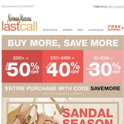 [Last Call] Sandal season {starting at $21} + you choose: extra 50% or 40% or 30% off everything!