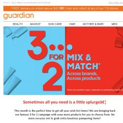 [Guardian] ⚡Join the Fun: New Products & 3 For 2 Promotion on More Than 150 Brands!