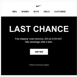 [Nike] Last Chance for Free Shipping