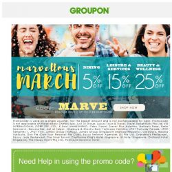 [Groupon] Marvelous March SALE | Up To Extra 25% Off!
