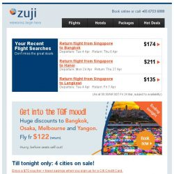 [Zuji] Last day: Bangkok flights fr only $122 (return)!