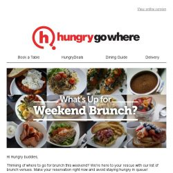 [HungryGoWhere] What's Up for Weekend Brunch?