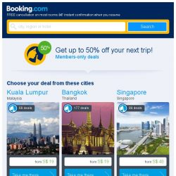 [Booking.com] Kuala Lumpur and Bangkok – great last-minute deals from S$ 19