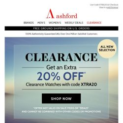 [Ashford] All New Clearance Selection! Save Extra 20%.