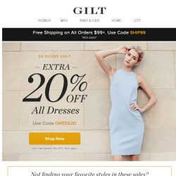 [Gilt] 24 Hours Only: Extra 20% Off All Dresses