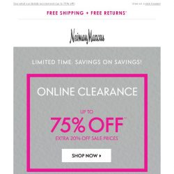 [Neiman Marcus] 75% off in clearance! Limited-time extra savings