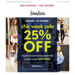 [Neiman Marcus] It's on! 25% off during Chic Week