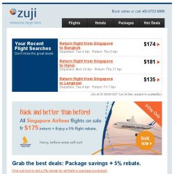 [Zuji] 3-Day Only: All Singapore Airlines flights on sale fr $175!