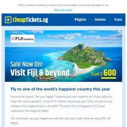 [cheaptickets.sg] Fly to one of the happiest countries from as low as $600   Hunt for your Easter deals