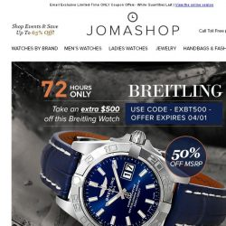 [Jomashop] 72 HOURS: Breitling Galactic $500 Coupon • Versace DV25 Automatic $395 Shipped