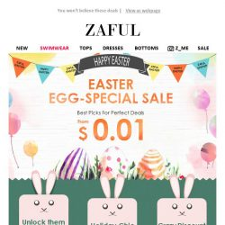 [Zaful] Unlock 0.01 USD Easter Top Picks, GO!