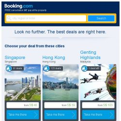 [Booking.com] Singapore and Hong Kong – great last-minute deals from S$ 39